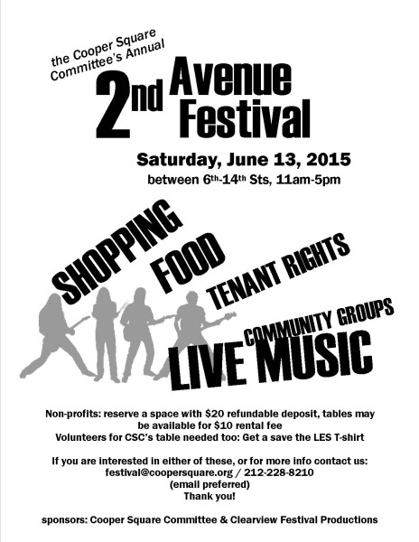 2nd Ave 2015 flyer