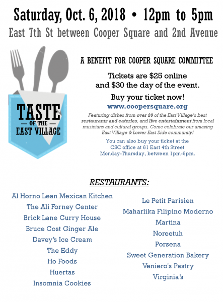 15d394d96f Celebrate the 3rd Annual Taste of the East Village on Saturday, October  6th, 2018